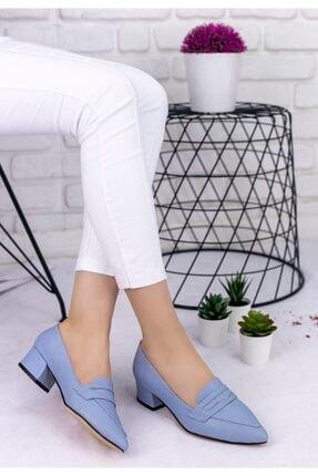 REYNA Kadın Bebe Mavisi Cilt Topuklu Ayakkabı