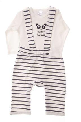 Pierre Cardin Baby Çizgi Desenli Salopet Zıbın Takım