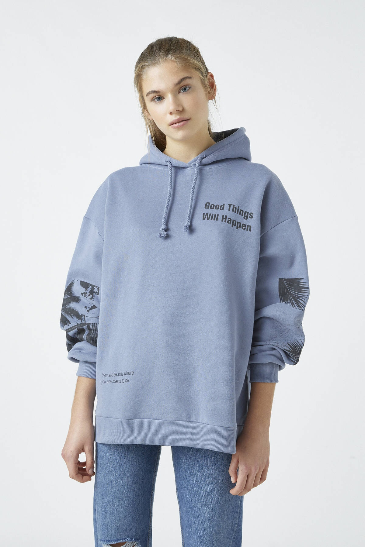 Pull & Bear Kadın Açık Mavi Sırtı Grafik Sloganlı Kapüşonlu Sweatshirt 04591328