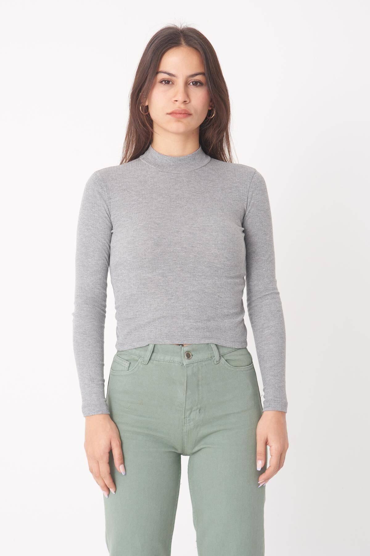 Addax Kadın Gri Melanj Uzun Kollu Bluz B1070 - U8 ADX-0000023027 2