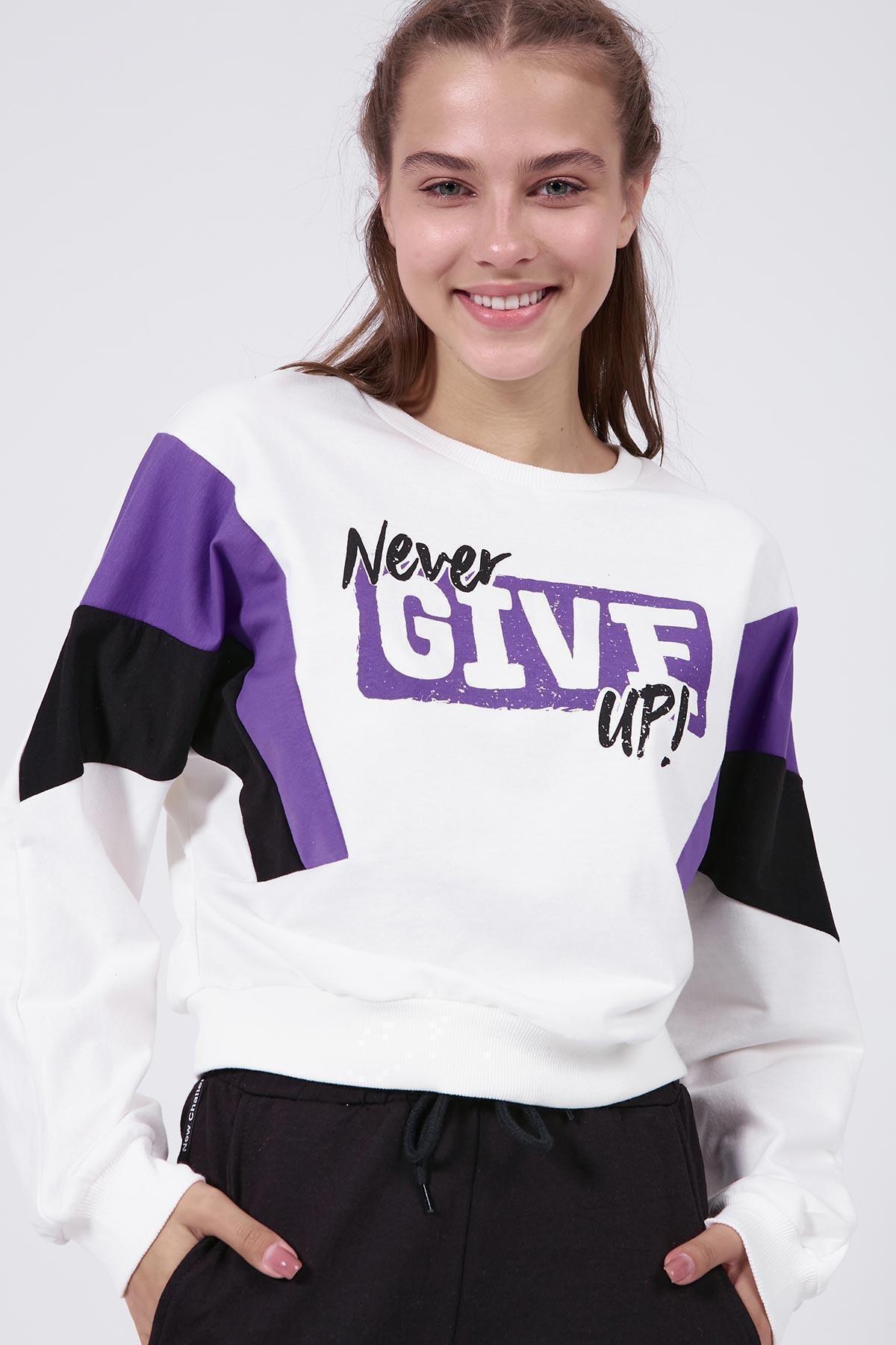 Pattaya Kadın Yazılı Renk Bloklu Crop Sweatshirt Y20w166-0066 1