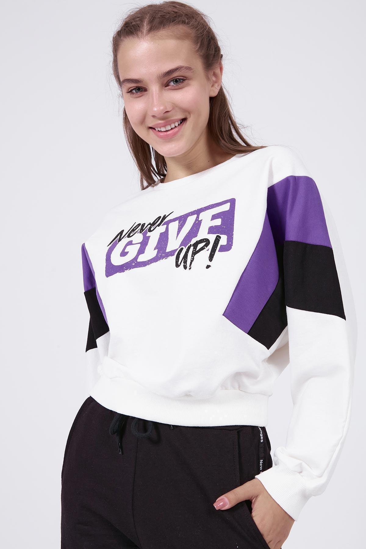 Pattaya Kadın Yazılı Renk Bloklu Crop Sweatshirt Y20w166-0066 2