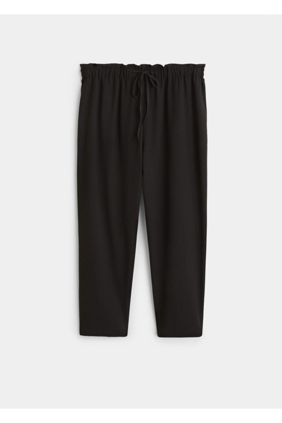 Violeta by MANGO Kadın Siyah Beli Elastik Pantolon 61110630 1