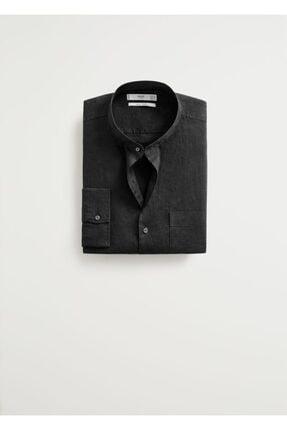 MANGO Man Erkek Siyah Regular Kesimli %100 Keten Gömlek 67087554