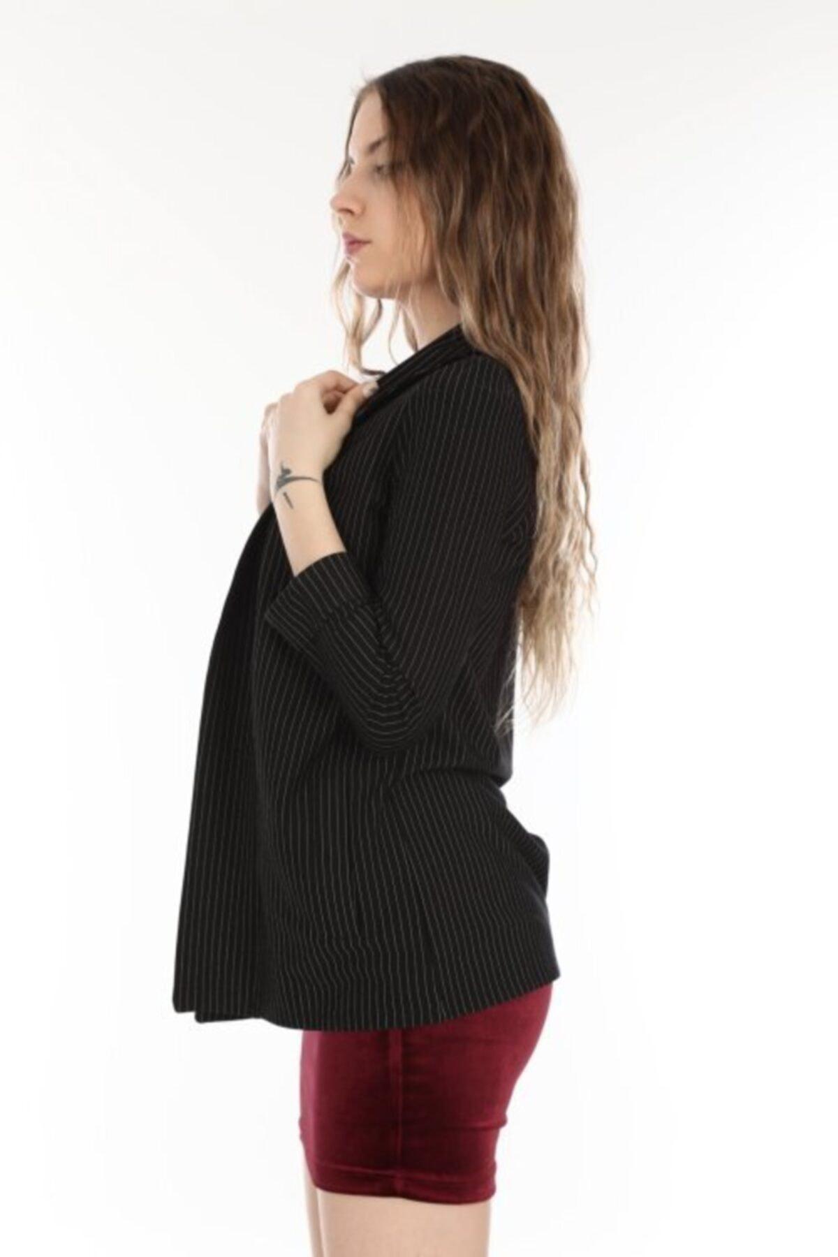 MARIQUITA Kadın Siyah Çizgili Blazer Ceket 2