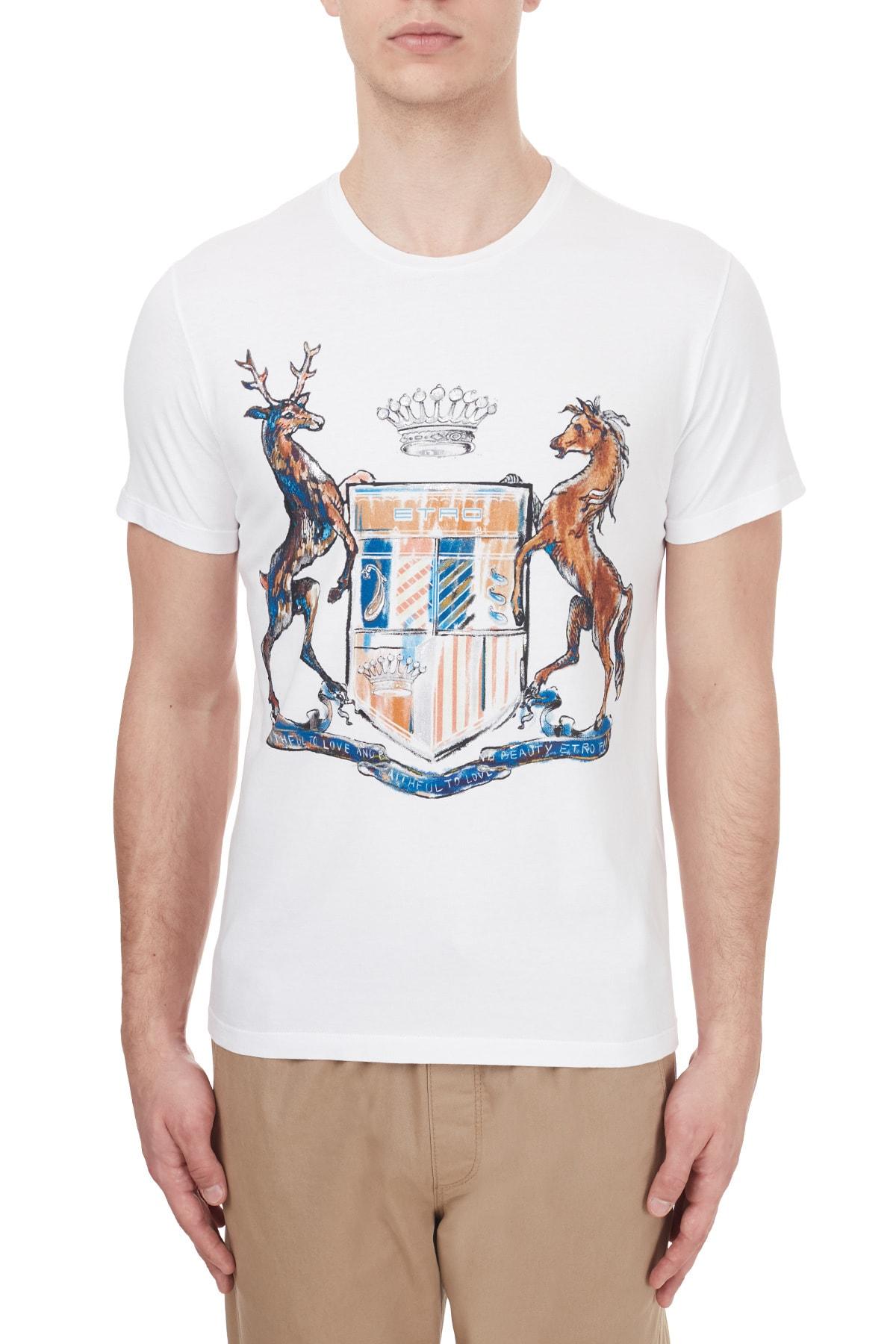 ETRO Pamuklu Baskılı Bisiklet Yaka T Shirt Erkek T Shirt 1y020 9759 0990 1