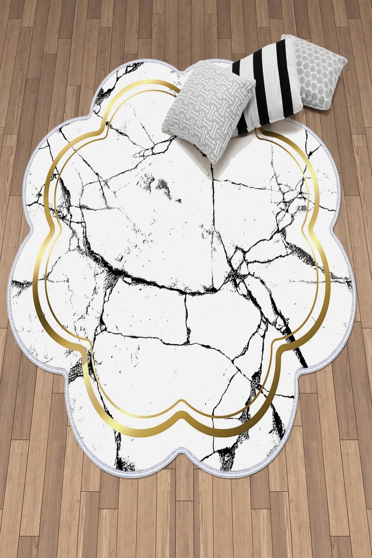 colizon Dekoratif Yıkanabilir Kaymaz Deri Tabanlı Lazer Kesim Salon Halısı 1