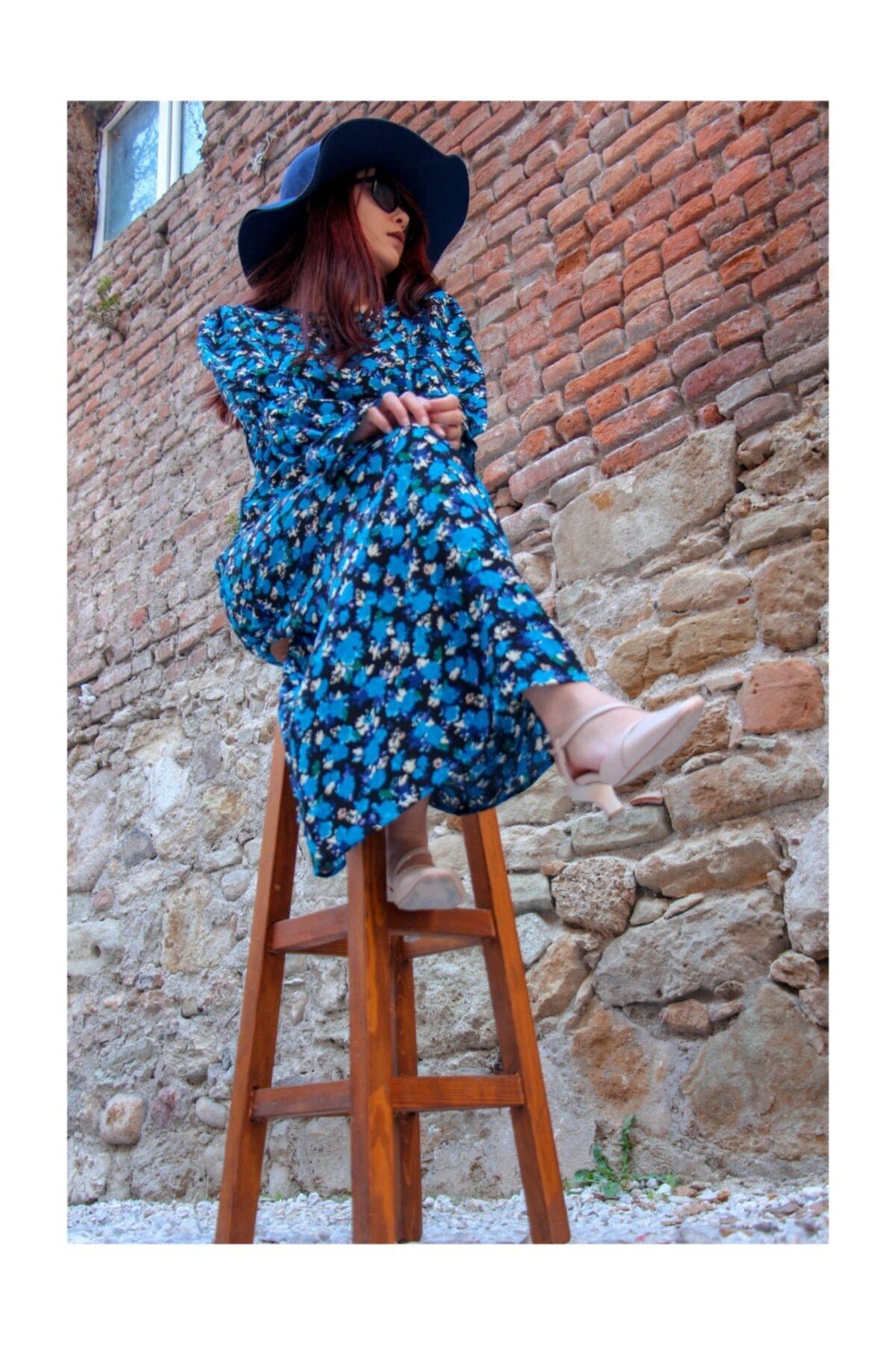 Flamingo Kadın Mavi Çiçekli Elbise 2
