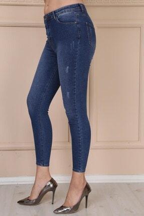 Modaca Kadın Mavi Lazer Detay Jean Mavi