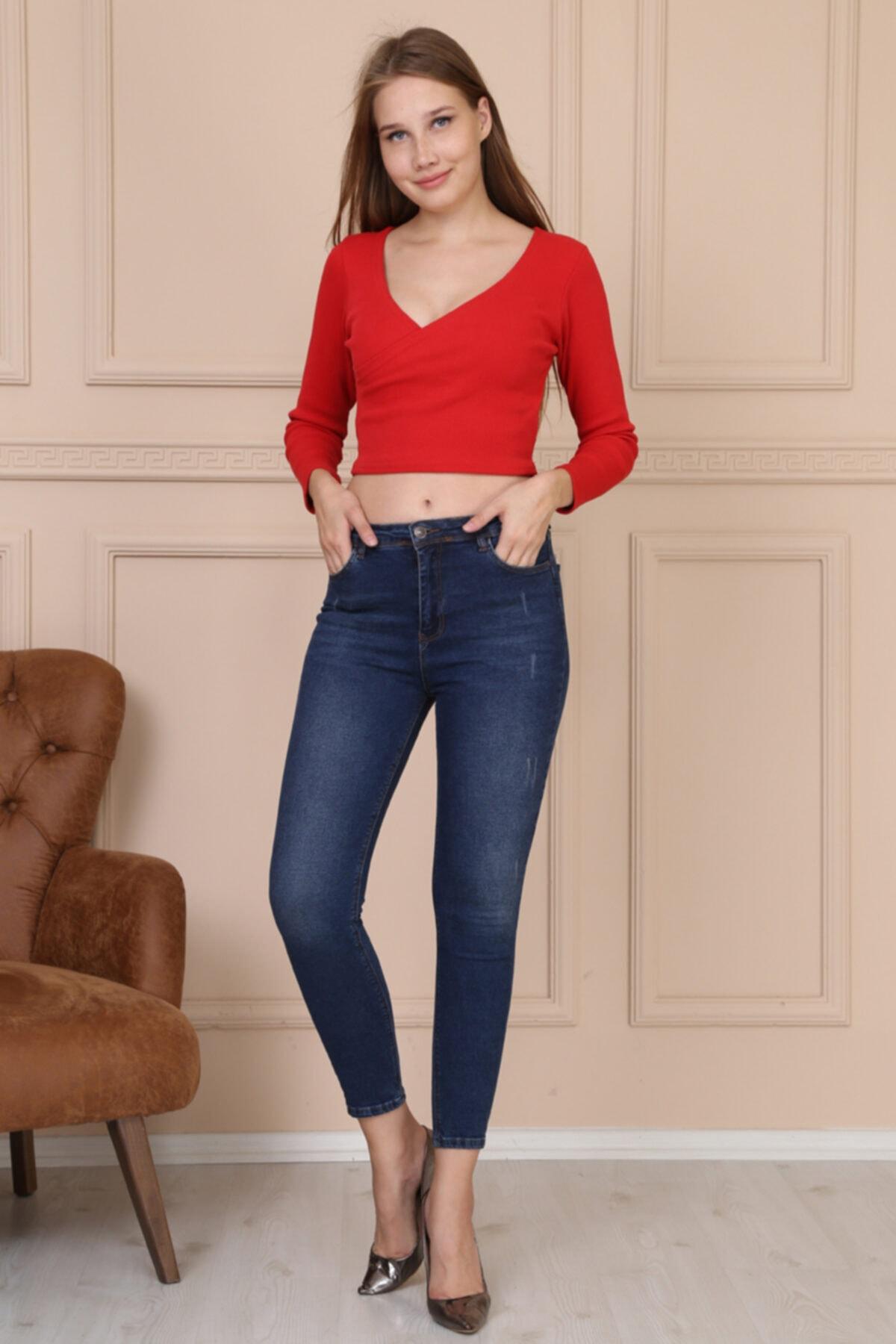 Modaca Kadın Koyu Mavi Ön Tırnak Detay Jean 2