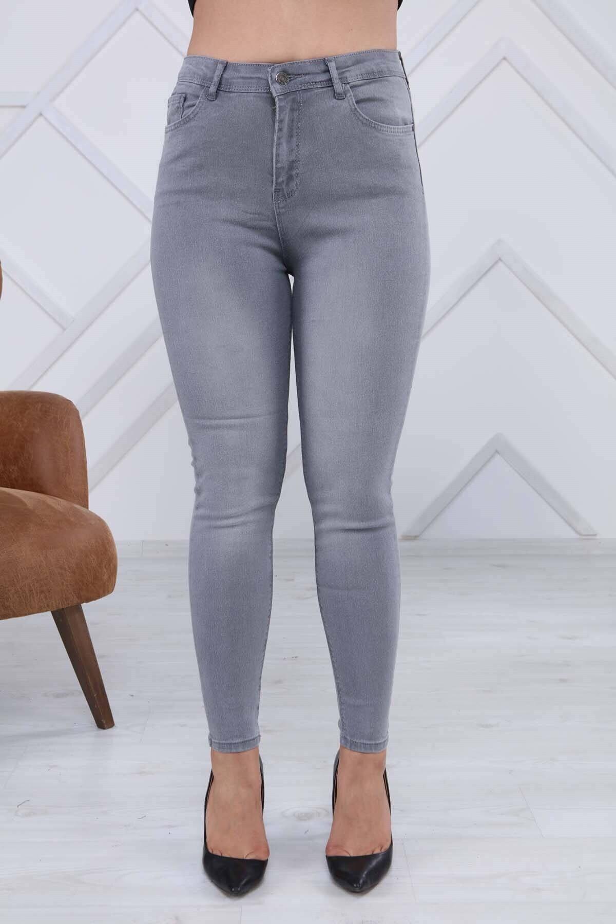 Modaca Kadın Gri Eskitme Detay Jean 2