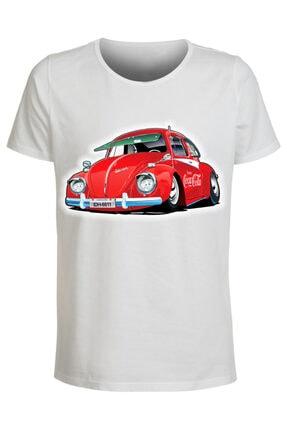 ABC Erkek Beyaz Araba Baskılı Tshirt