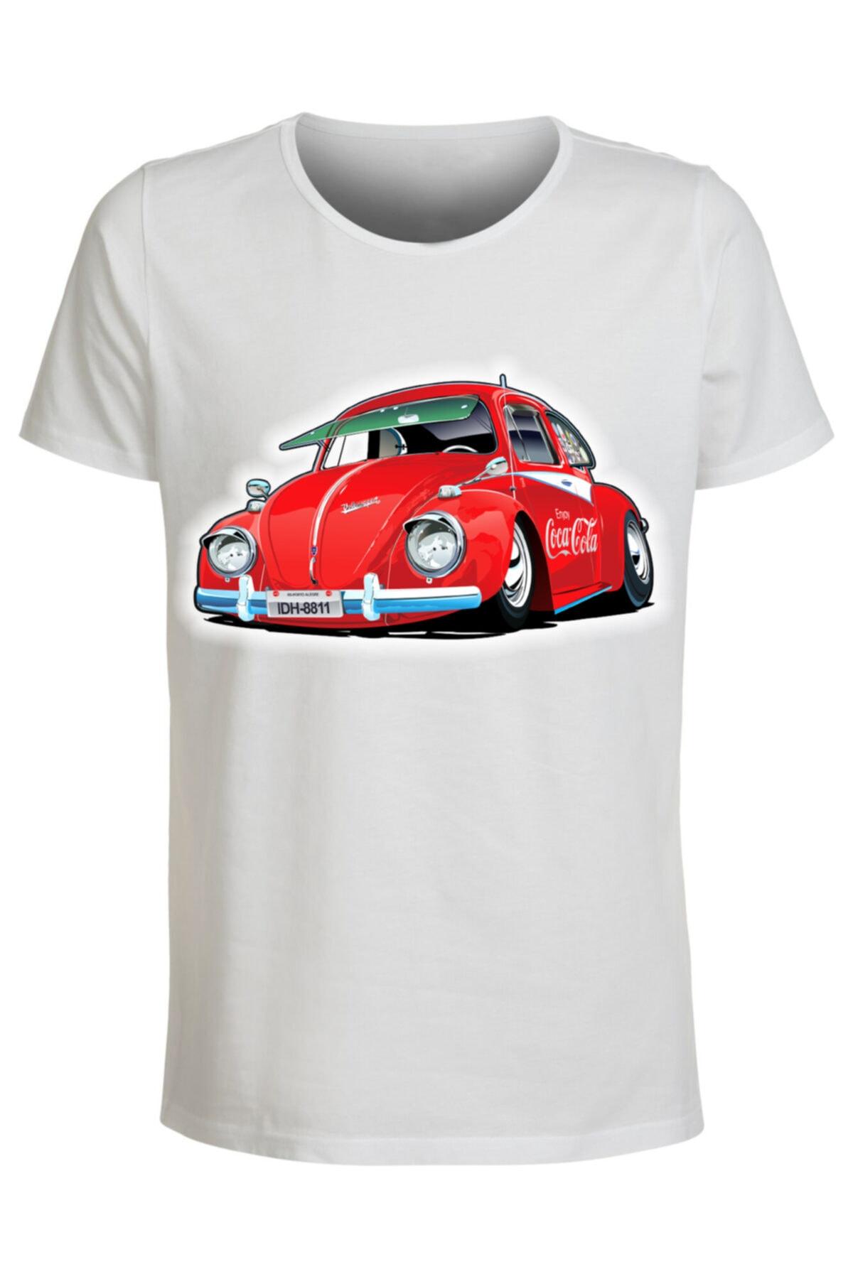 ABC Erkek Beyaz Araba Baskılı Tshirt 1