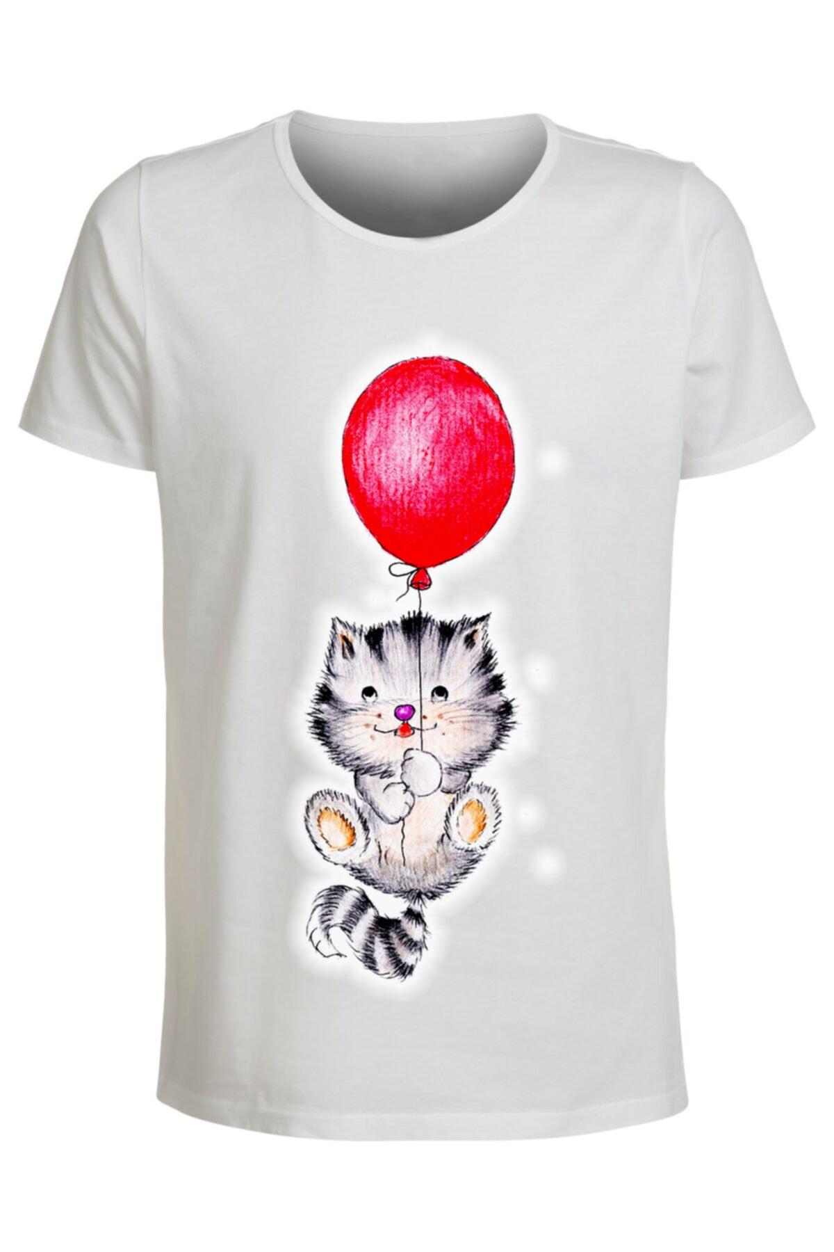 ABC Kadın Beyaz Baskılı T-shirt 1