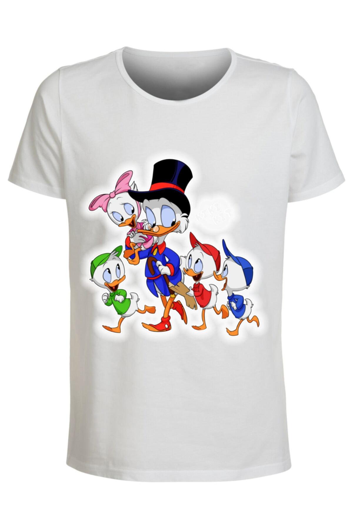 ABC Kadın Beyaz Çizgi Film Kahramanları -84 Baskılı T-shirt 1