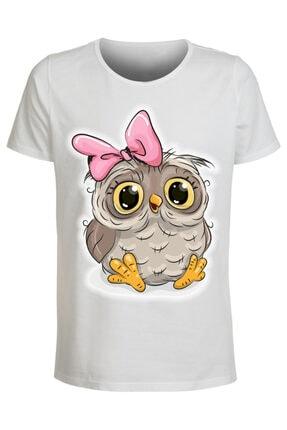 ABC Kız Çocuk Beyaz Çizgi Film Kahramanları 55 Baskılı T-shirt