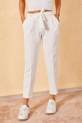 Zafoni Kadın Bej Bel Kuşaklı Klasik Pantolon
