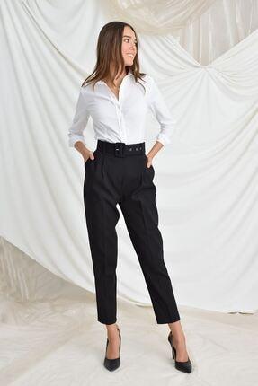 Zafoni Kadın Siyah Beli Kemerli Havuç Pantolon