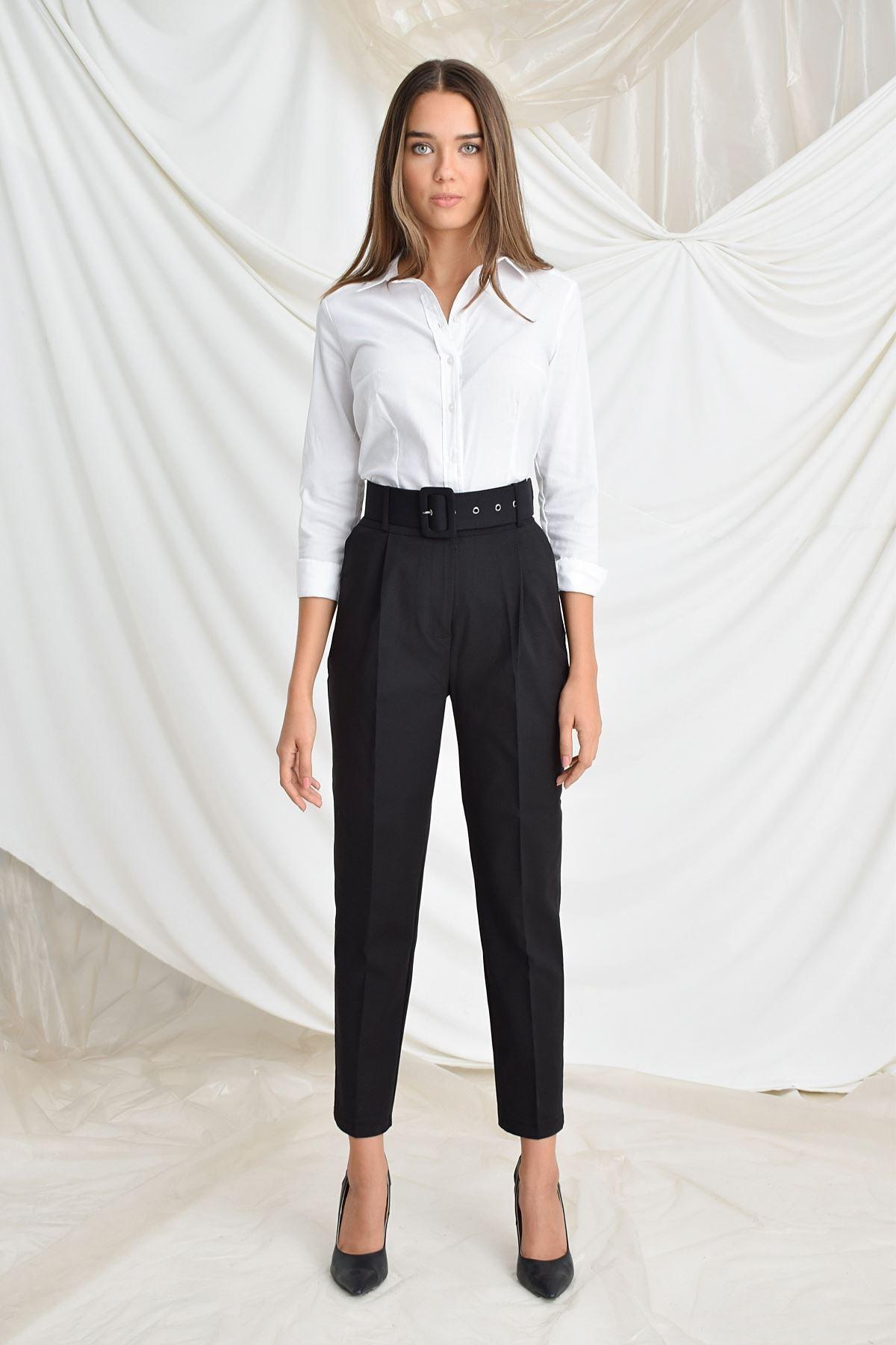 Zafoni Kadın Siyah Beli Kemerli Havuç Pantolon 2