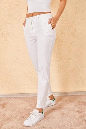 Zafoni Kadın Beyaz Kalem Pantolon