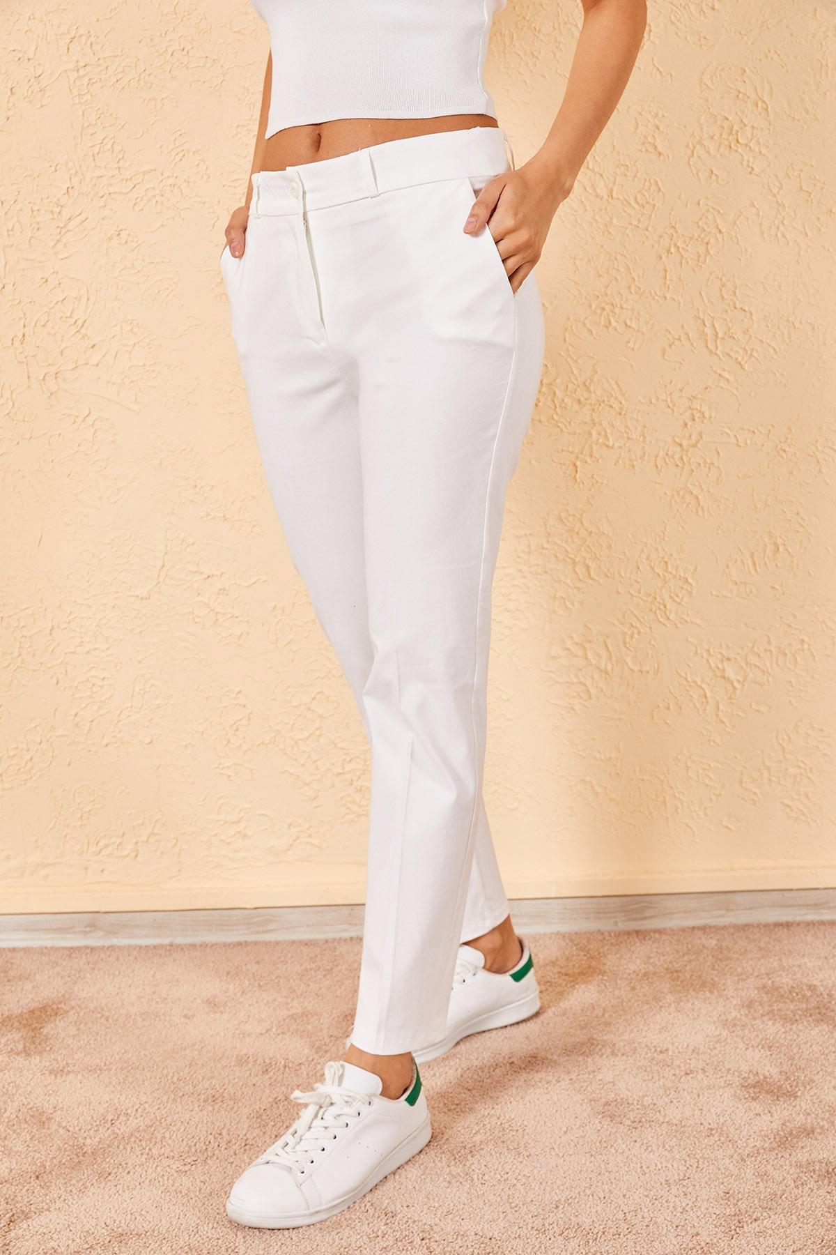 Zafoni Kadın Beyaz Kalem Pantolon 1