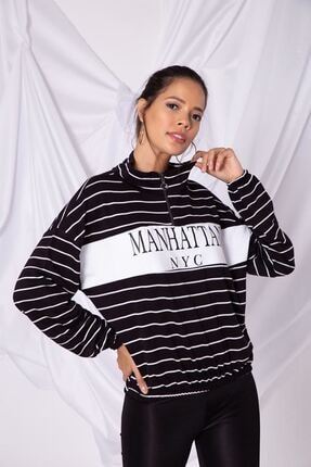 Zafoni Kadın Siyah  Çizgili Etek Ucu Lastikli Yarım Fermuarlı Sweatshirt