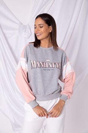Zafoni Kadın Pembe Manhattan Baskılı  Sweatshirt
