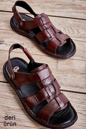 Bambi Hakiki Deri Kahve Erkek Sandalet L1501600903