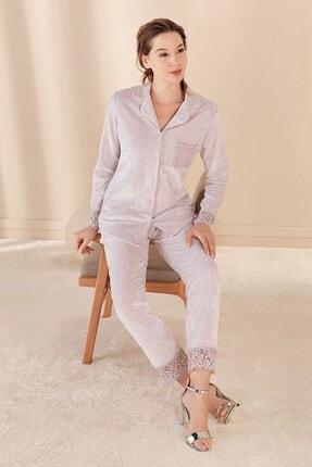 Lohusa Sepeti Kadın Lila Kadife Önden Düğmeli Pijama Takımı