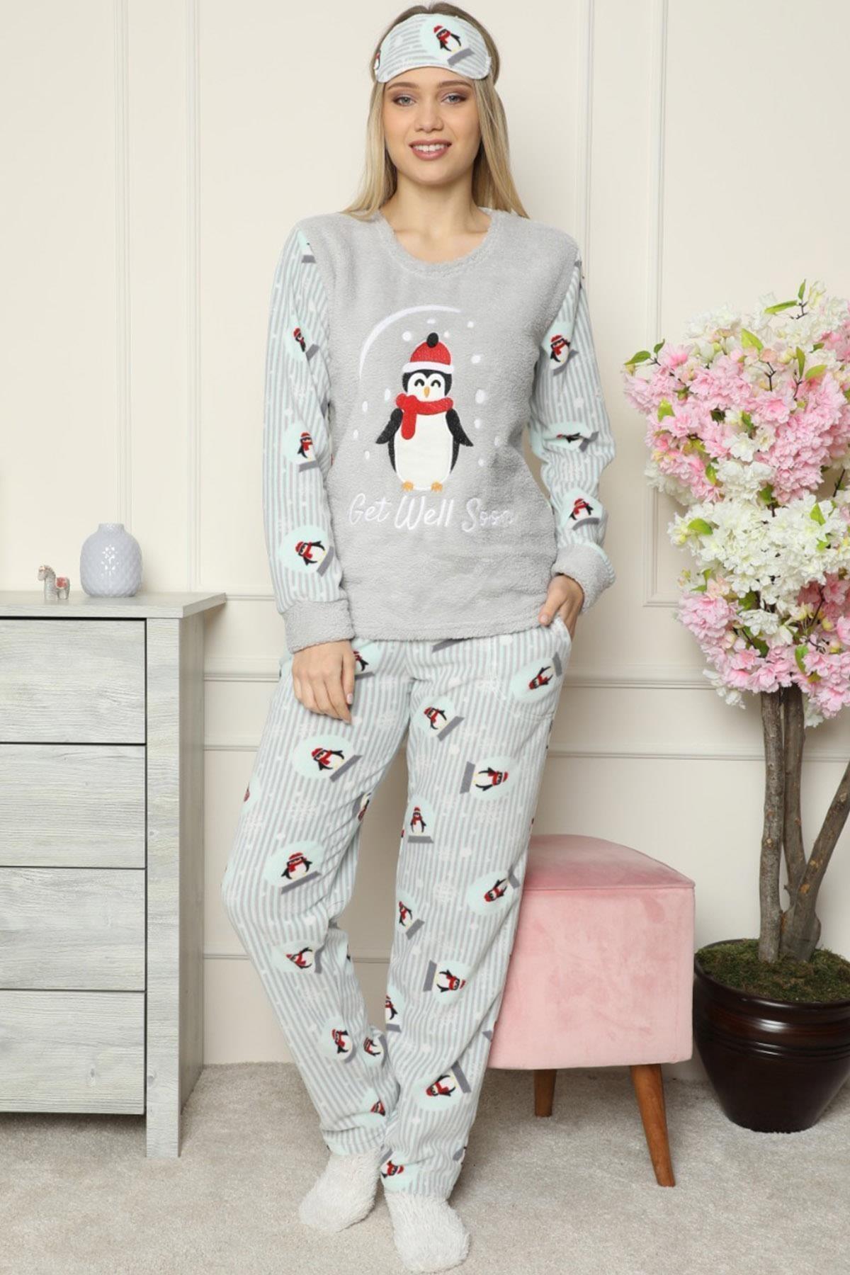 Pijamaevi Gri Get Well Soon Desenli Kadın Peluş Pijama Takımı 2