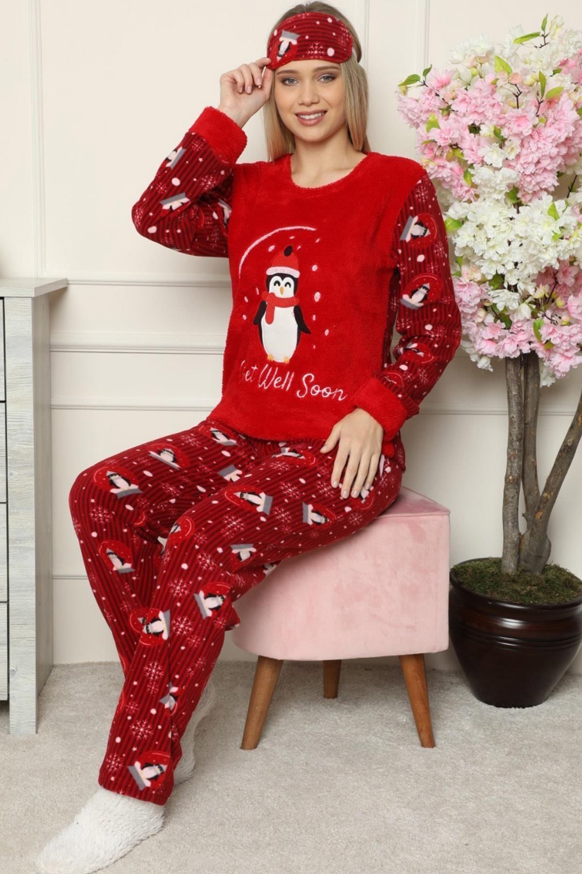 Pijamaevi Kırmızı Get Well Soon Desenli Kadın Peluş Pijama Takımı 1