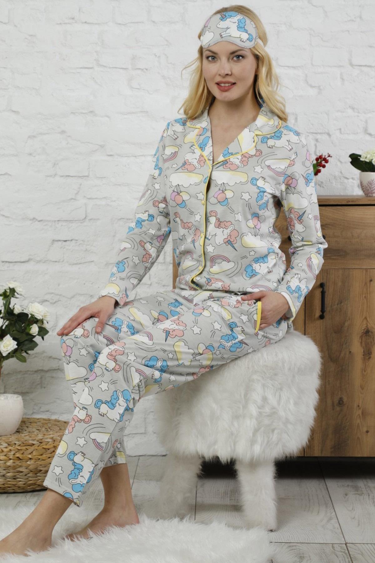 Pijamaevi Unicorn Desenli Önden Düğmeli Uzun Kollu Kadın Pijama Takımı 1