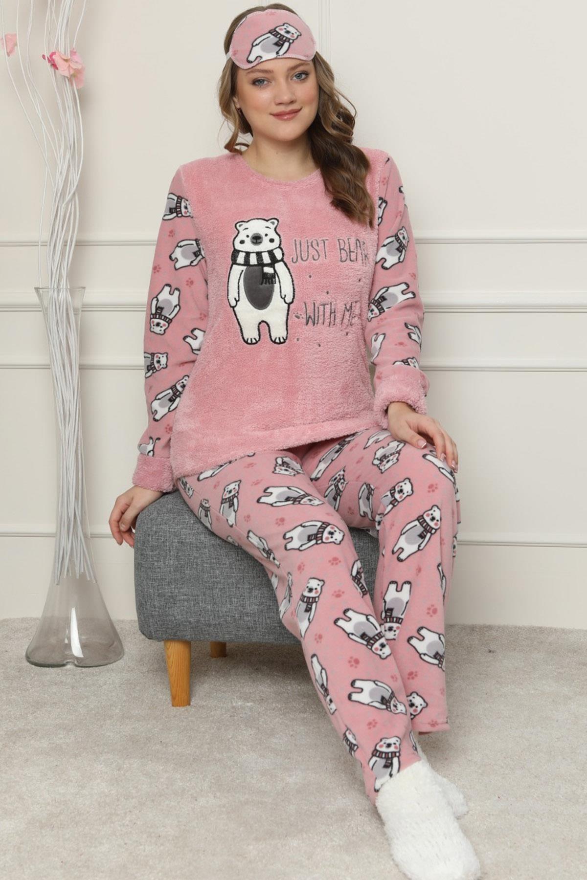 Pijamaevi Pembe Just Bear Desenli Kadın Peluş Pijama Takımı 1