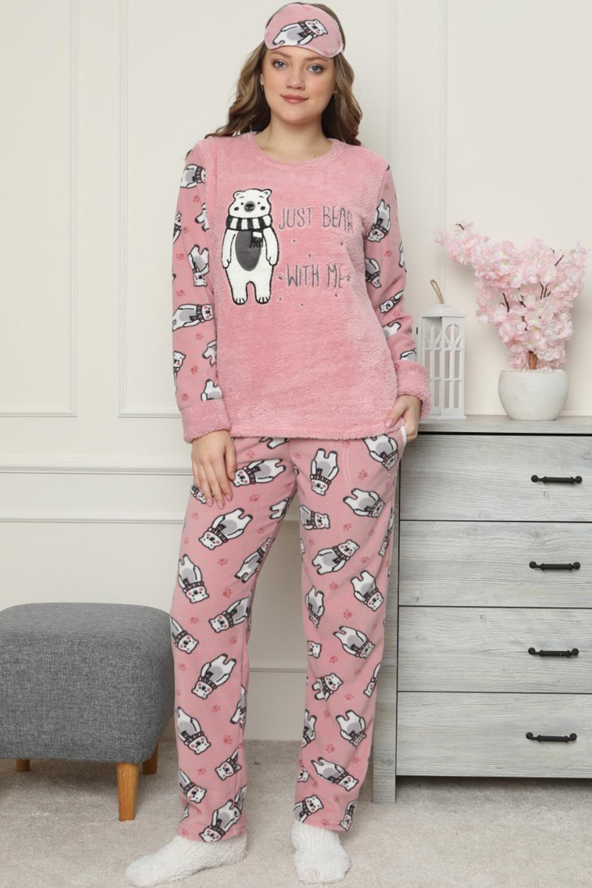 Pijamaevi Pembe Just Bear Desenli Kadın Peluş Pijama Takımı 2