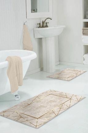 colizon 60x90 - 50x60 Dijital Banyo Halısı Kaymaz Tabanlı Klozet Takımı 2'litykdb-2400-k