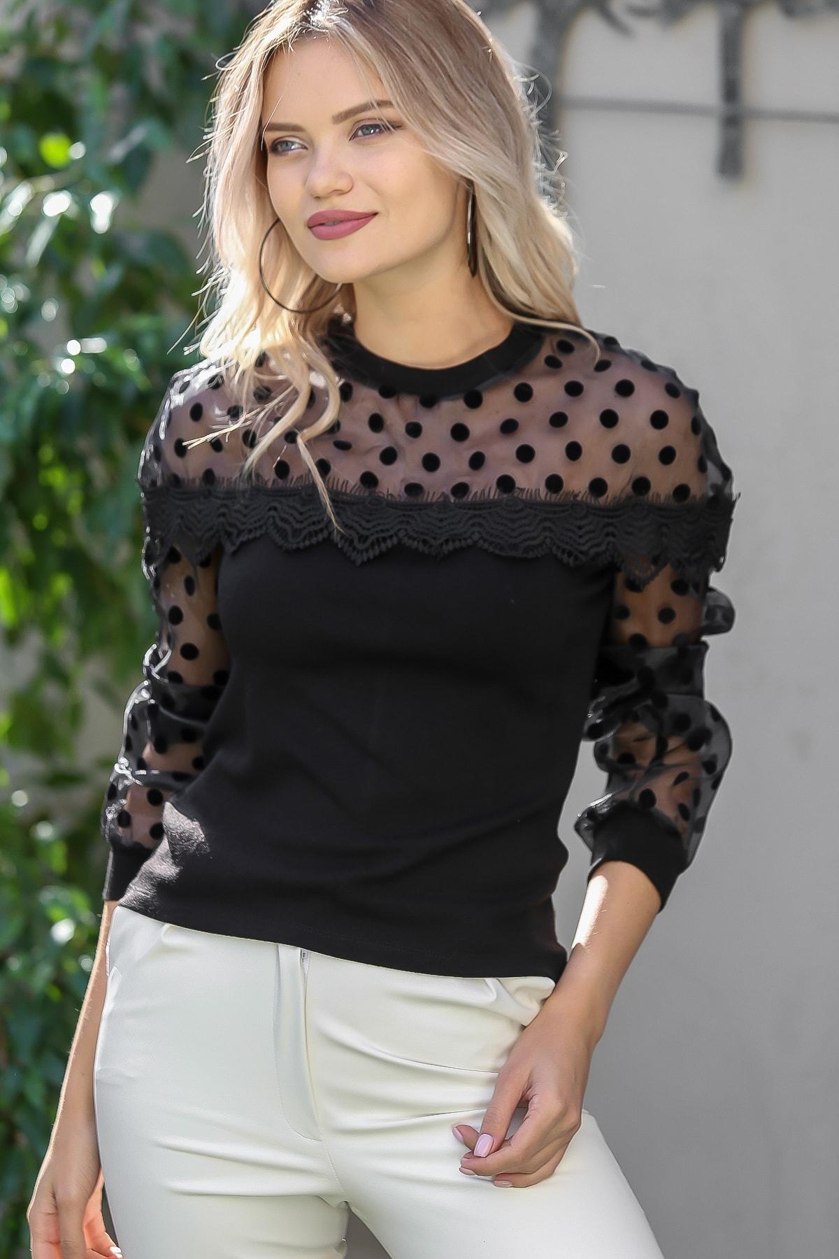 Chiccy Kadın Siyah Flok Puantiye Roba Ve Kolları Organze Dantel Detaylı Bluz M10010200bl95790 1