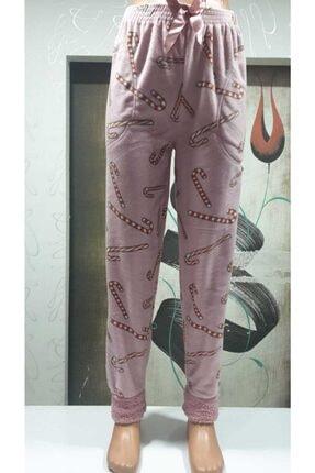 ARCAN Kadın Pembe Manşetli Polar Alt Pijama