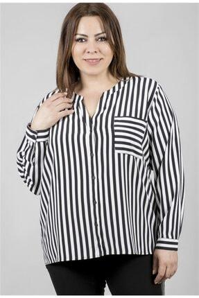 MYLİNE Kadın Beyaz Uzun Kollu Çizgili Bluz