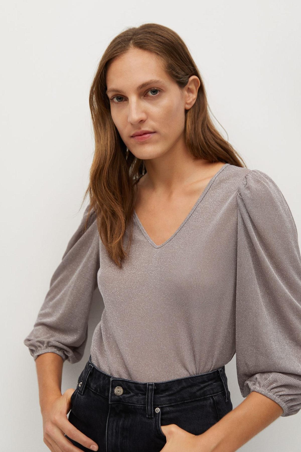 MANGO Woman Kadın Pastel Pembe Tişört 87010035 1