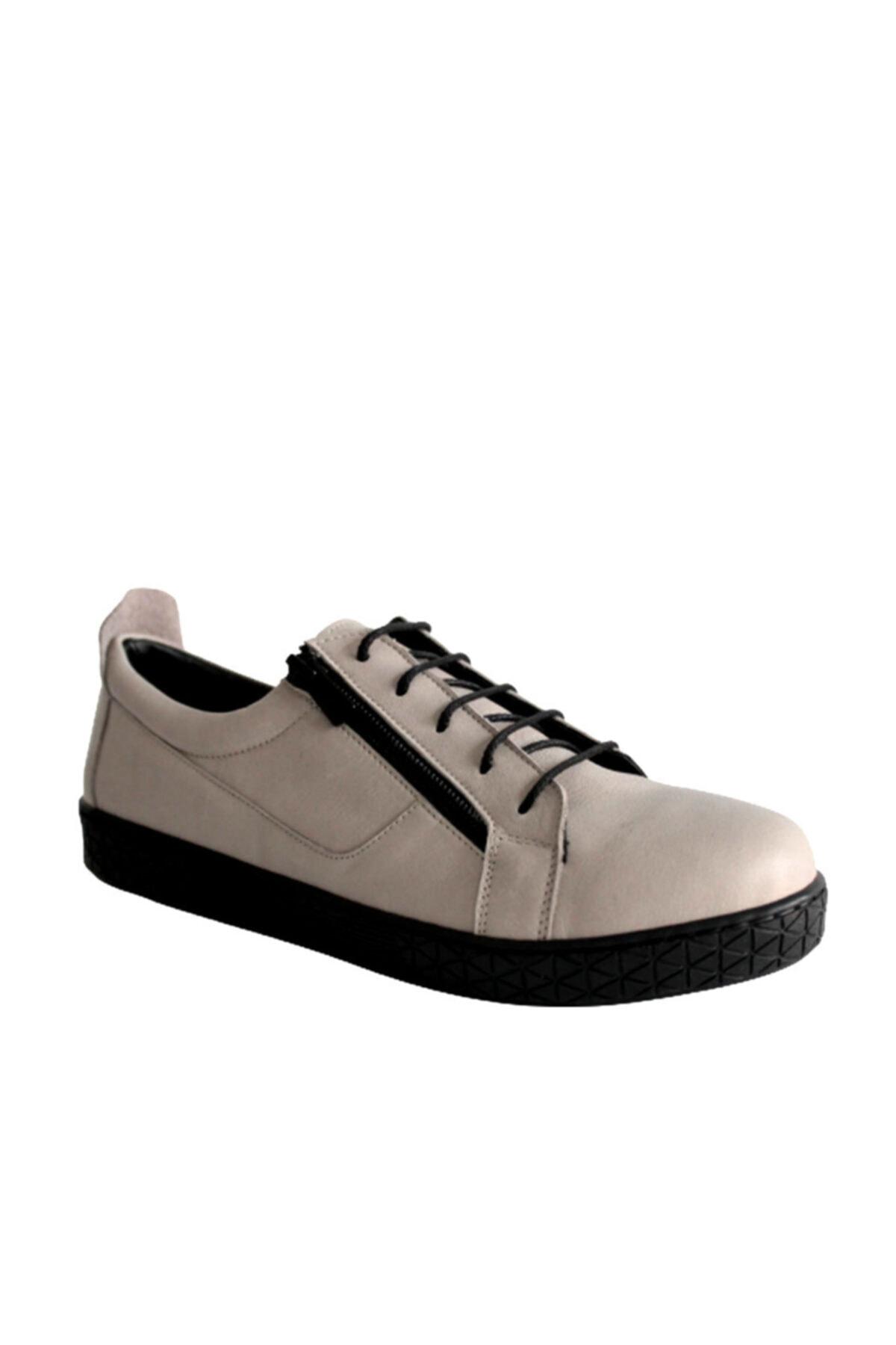 Beta Shoes Kadın Hakiki Deri Günlük Ayakkabı Gri 1