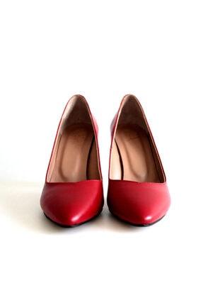 Beta Shoes Kadın Hakiki Deri Topuklu Ayakkabı Kırmızı