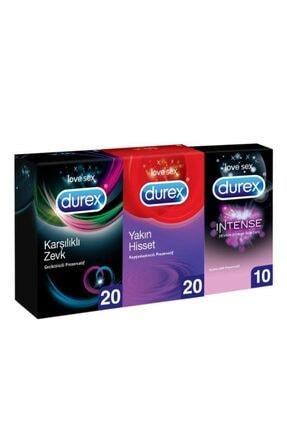 Durex Karşıklı Zevk Geciktiricili 20'li + Yakın Hisset 20'li + Intense 10'lu Prezervatif