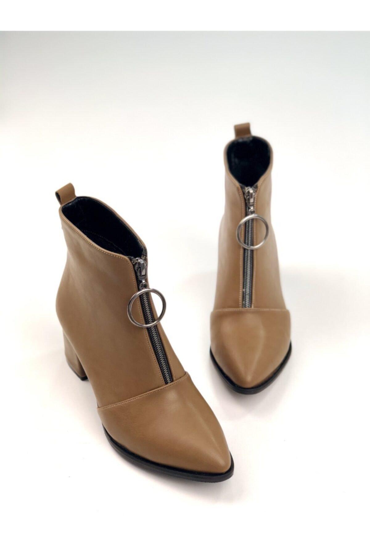 Ayakkabı Ajansı Kadın Vizon Ortadan Fermuarlı Bot 1
