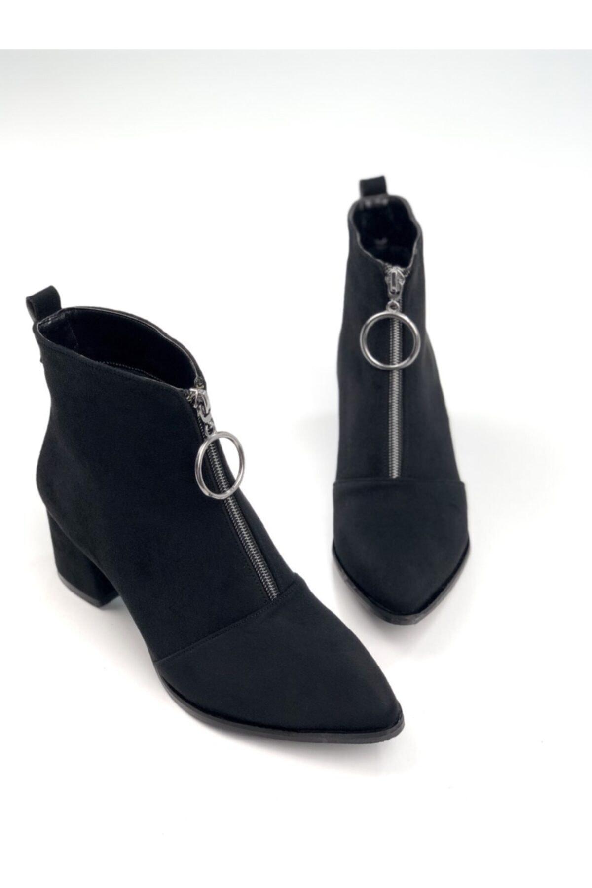 Ayakkabı Ajansı Kadın Siyah Ortadan Fermuarlı Bot 1
