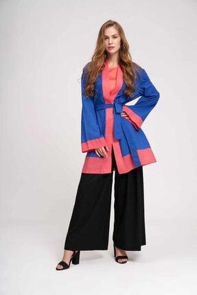 Mizalle Kadın Saks Vual Renkli Plaj Kimono 19YGMZL1019010-SAKS