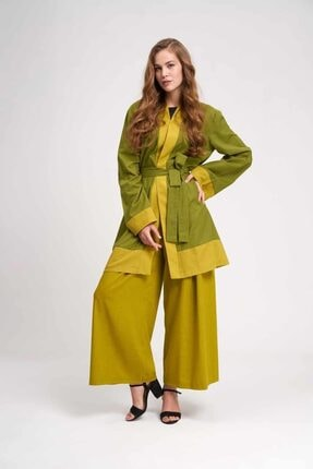 Mizalle Kadın Yeşil Vual Renkli Plaj Kimono 19YGMZL1019010-YEŞİL
