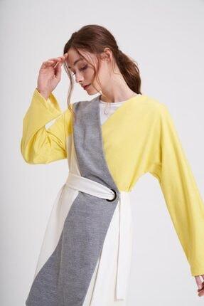 Mizalle Parçalı Kuş Gözlü Iki Iplik Kimono (sarı)