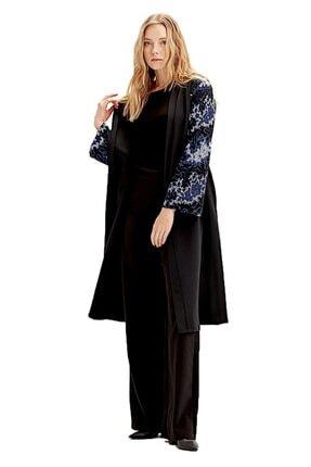 Mizalle Kadın Saks Mavi Kolu İşlemeli Kimono  18KGMZL1019012