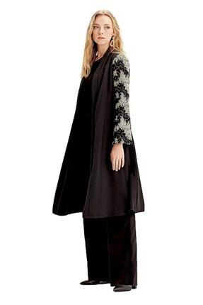 Mizalle Kadın Siyah Kolu İşlemeli Kimono 18KGMZL1019012