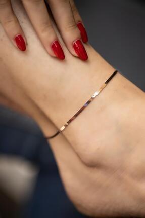 İzla Design Kadın Yassı Zincir Model Rose Kaplama Gümüş İtalyan Halhal